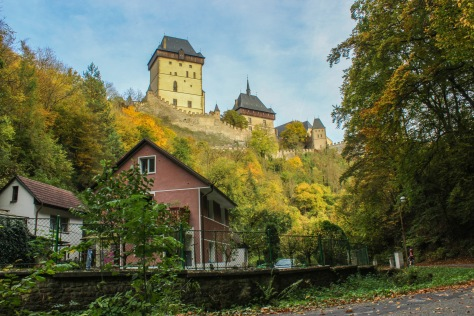 karlstejn castle poses photogenically in the sun