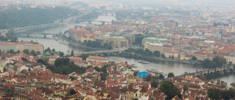 the prague riverfront on a hazy morning