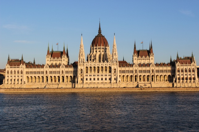 budapest's parliament shines in the sun