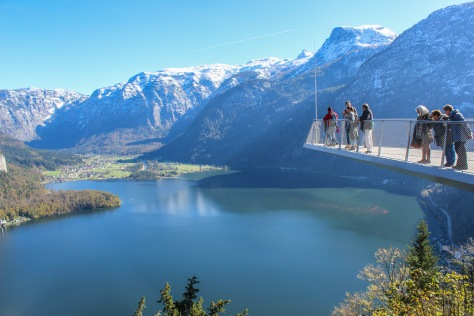 hallstatt viewing platform, with obertraun in the distance