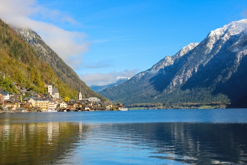 hallstatt juts out into it's watery shoreline