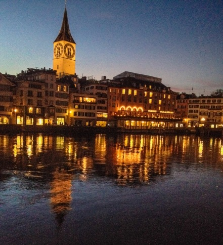 the zurich riverfront wears herself best at night