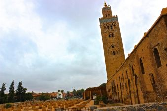 the koutoubia minaret stretches high above marrakech