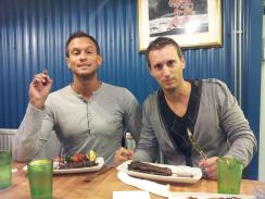 gregory (left) and thomas (right) at dinner in iceland