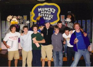 dave & i and the rest of our roommates/neighbors during my freshman year... at chuck e. cheese