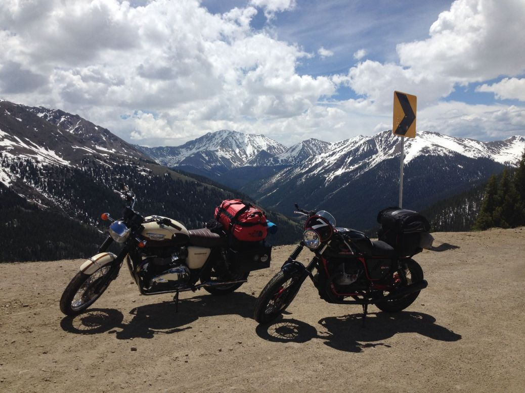 classic motorcycles in the rocky mountains